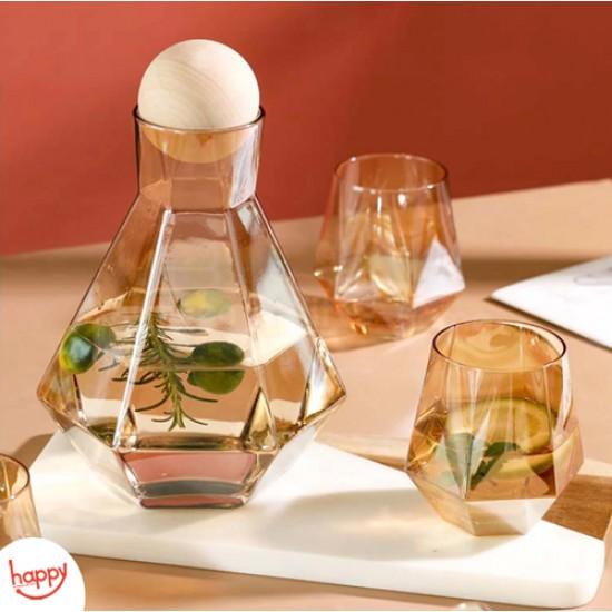 شاف + 6 كاسات زجاج ,HAPPY