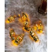 حبل زينة (فوانيس رمضان)مضيء ذهبي ,9201294,هابي