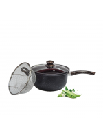 Frying pan black granite with strainer