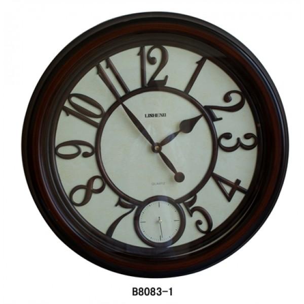 ساعة LISHENG مدور اطار خشبي X440