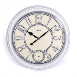 ساعة LISHENG مدور اطار خشبي ابيض X440W
