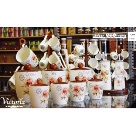 Set 6 cup of coffee stand wood Victoria 9169404